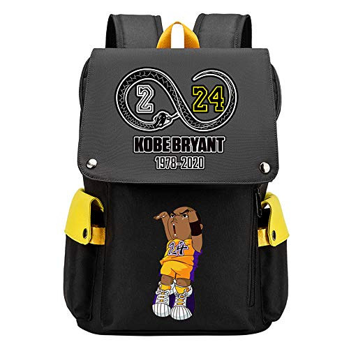 Lorh's store Basketball Player Pattern Kobe Travel School Multifunctional Flap Backpack Fans Student Daypack For Men Women (Y-Pattern 6)