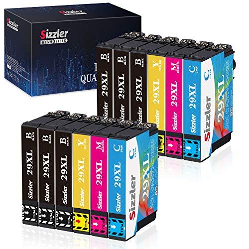Sizzler 12 Stk Patronen 29XL Ersatz für Epson 29 Druckerpatronen Kompatibel mit Epson XP-352 XP-342 XP-442 XP-245 XP-235 XP-452 XP-355 XP-455 XP-432 XP-345 XP-257 (6 Schwarz,2 Cyan,2 Magenta,2 Gelb)