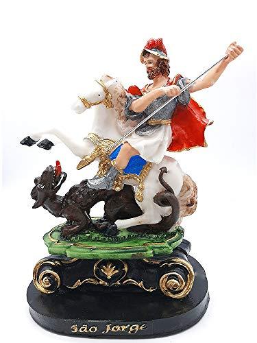 Imagem De São Jorge Escultura Em Resina De 20cm Estatua Ogum