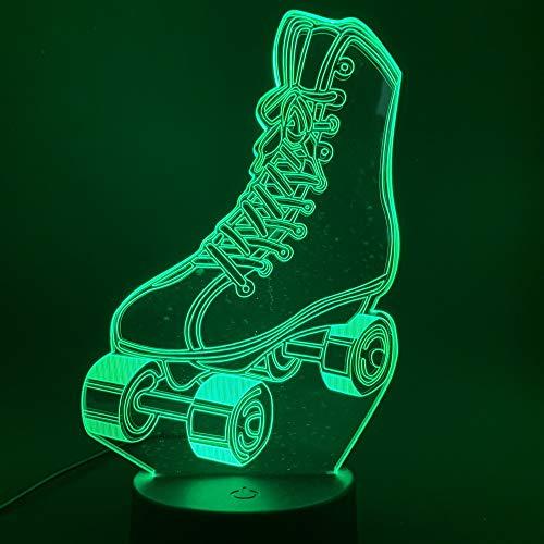 Rollschuhe 3d Led Nachtlicht Touch Schalter Farbwechsel für Home Room Decor Nachtlicht Kinder Kind Mädchen Nachttischlampe