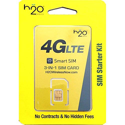 H2O Wireless SIM Mini/Micro/Nano Including 30 Plan Unlimited Talk Text 3GB LTE Data