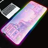 Mouse Pads Sailor Moon Landscape Aesthetics RGB Gaming Mouse pad LED Computer Pc Bureau Mat Backlit 31.49x11.81x0.15 inch