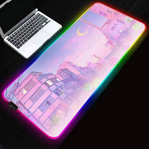 Mouse Pads Sailor Moon Landscape Aesthetics RGB Gaming Mouse pad LED Computer Pc Bureau Mat Backlit 24x12x0.15 inch