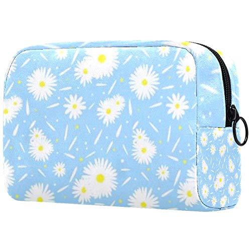 Trousse de toilette portable pour femme avec brosses de maquillage personnalisées, sac à main, organiseur de voyage pour l'été frais Chrysanthème