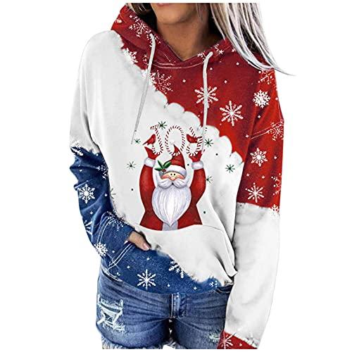 APOKIOG Sudadera con capucha para mujer, larga, para Navidad, vestido estampado, vestido de otoño, vestido...