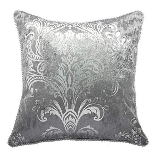 HYSENM Kissenbezüge Samt Elegant Glatt Atmungsaktiv Hautfreundlich mit Reißverschluss Kissenhülle für Sofakissen Dekokissen Autokissen Zierkissen Pillow Case, grau, 45x45cm