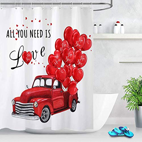 ECOTOB Valentinstag Duschvorhang für Badezimmer, Bauernhof, Retro, roter LKW mit herzförmigen Luftballons, Badezimmer-Zubehör, Stoff mit Duschvorhanghaken, 152,4 x 182,9 cm