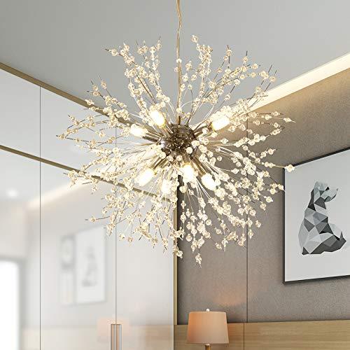 GOODYI Candelabros de fuegos artificiales, aplique Sputnik de cristal plateado con 8 luces colgantes Lámparas de techo modernas para sala de estar, comedor, restaurante