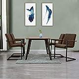 SHINAWOOD Schwingstuhl 4er Set Esszimmerstühle mit Armlehne Kunstleder Stühle ...