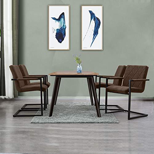SHINAWOOD Schwingstuhl 4er Set Esszimmerstühle mit Armlehne Kunstleder Stühle mit Metallbeine Freischwinger Schwingstuhl Braun 4er Set