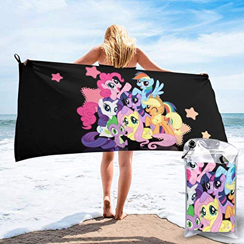 Lsjuee Anime My R-ainbow Little P-Ony Toalla de baño Toalla de Playa de Secado rápido de Gran tamaño Ligera y Suave Toalla de Playa para Viajes Camping Gimnasio 27.5 'x55'