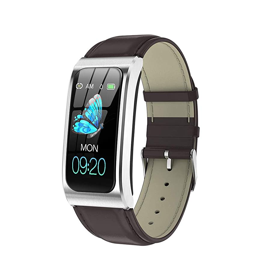 Smart Watch Business Smart Watch,Casual Sports Smart Bracelet Heart Rate Blood Pressure Monitor Calorie Counter Pedometer Watch for Men Women Kids (Material : Leather Strap, Style : C)