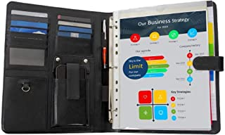 Leather Portfolio Organizer Folder | Removable 3 Ring Binder, Business Document Folio | Resume, College Legal Pad, Notepad, Card Holder, Work Padfolio File | Black Professional Case For Men and Women