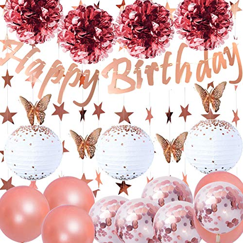 Jolily Rose Gold Birthday Party Decorations Supplies Happy Birthday Banner, 3 Paper Lanterns, 4 Tissue Flowers, 12 Rose Gold Butterflies Stickers 4m length Star Garland, Confetti Balloons
