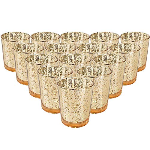 YarStore Fabulous Charming Mercury Glass Votive Candle Holder 2.75' H (15pcs, Speckled Gold) - Mercury Glass Votive Tealight Candle Holders for Weddings, Parties and Home Décor