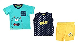 Lumex Short Sleeves Printed T-Shirt with Sleeveless Patterned Muscle-Tee and Shorts Pajama Set