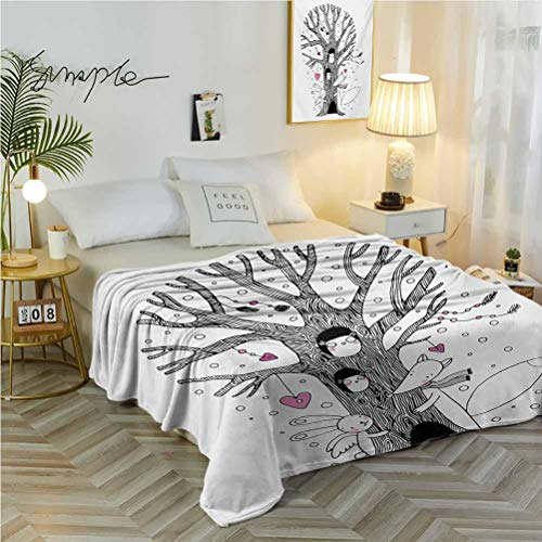 50' W x 70' L Doodle Super Soft Blanket for Sofa Chair Bed Monochrome Tree with Playing Children Bunny and Fox Doodle Style Arrangement Pink Black White