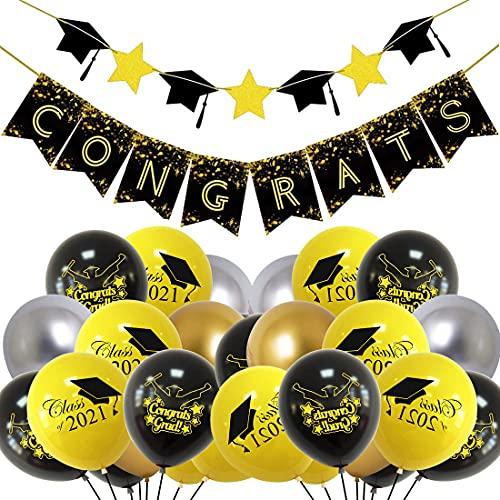 2021 - Banner de graduación, 21 unidades de globos de graduación, globos de látex, decoración de fiestas, para ceremonias de graduación