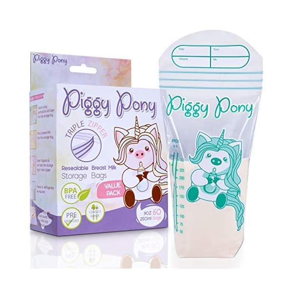 Piggy Pony 9 oz Breastmilk Storage Bags 60 Count Breastfeeding Nursing Triple-Zip...