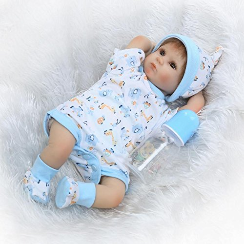 iCradle Reborn Baby Dolls 17'/43cm Reborn Baby Doll Soft Silicone Realistic Lifelike Reborn Baby Boy that Look Real Looking New Born Dolls Toddler Xmas Gift Free Magnet Pacifier (blue)