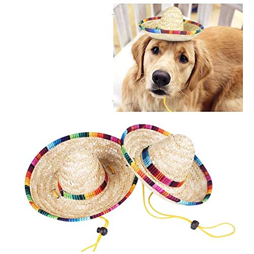 CheeseandU 2Pack Handcrafted Pet Straw Hat with Adjustable Chin Strap, Lovely Sun Hat Funny Mexican Party Costume Party Photo Prop Dog Sombrero Hat for Dog/Puppy/Cat/Kitty