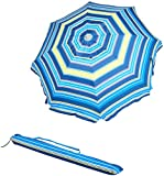 Amazon Basics Beach Umbrella - Blue/Yellow Striped