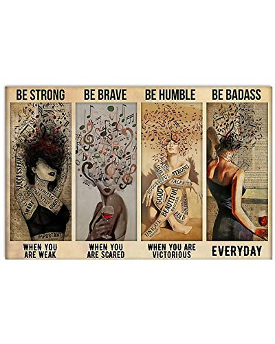 Music Girl be Strong be Brave be Humble be Badass Poster No Frame, Wall Decor Bedroom, Living Room, Office
