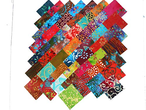 100 5 Inch Beautiful BATIKS Charm Pack- 50 Different Colors-2 of Each