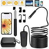 PEYOU Endoscope WiFi 32,8ft/10M,Semi-Rigide 2,0 mégapixels HD 1080P Caméra Endoscopique,8 LED 8mm Serpent caméra IP68 étanche Flexible &2600mAh batteria Compatible pour iOS/Android/iphone/ipad/PC
