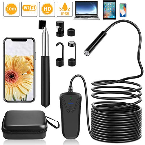 PEYOU Endoscope WiFi 32,8ft/10M,Semi-Rigide 2,0 mégapixels HD 1080P Caméra Endoscopique,8 LED 8mm Serpent caméra IP68 étanche Flexible &2600mAh batteria Compatible pour iOS/Android/iphone/ipad/PC