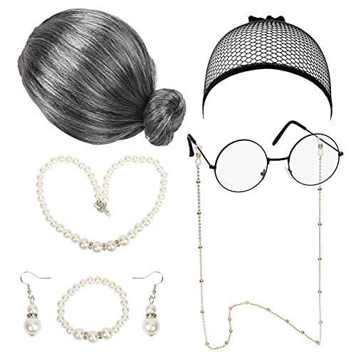 LOOPES 7pcs Peluca Abuela Disfraz de Abuelita Accesorios Abuelas Gafas Collar Perla Artificial Cadena Vintage Pendientes Retro para Disfrazarse Ancianas Carnival Halloween El Día de los Muertos.
