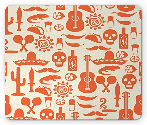 Mausepad Mexikanische Südamerikanische Kultur Sombrero Mariachi Hüte Schädel Guiatar Tacos Druck Creme Orange Rutschfest Personalisiert Bedruckte Rechteck Maus Matte Gummi 25X30Cm