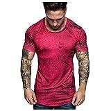 kiuseg Men Tie-Dye T-Shirt Summer Sports Fitness Short-Sleeved Top Blouse Crewneck Slim Tee Red