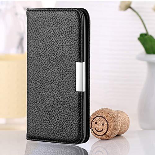 BAIYUNLONG Funda Protectora, for iPhone 12/12 Pro Texture Horizontal Flip Funda de Cuero con Soporte y Ranuras for Tarjetas (Color : Black)