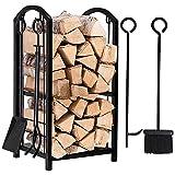 Amagabeli Firewood Rack Fireplace Tool Rack Indoor Wood Holders Fireplace Outdoor Log Holder Rack...