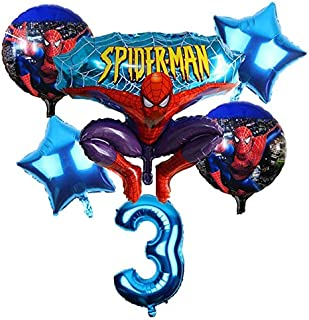 HOT-Ballons & Accessories - 6pcs/lot Spider Man Homecoming Happy Birthday Party Balloons 32 inch Number Ballon Inflatable ...