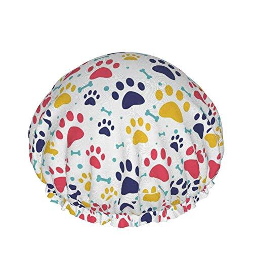 Gorro de ducha para mujer Patrón de perro lindo Gato colorido Pata de hueso de perro Mascotas divertidas Animales Cabezal de ducha gran