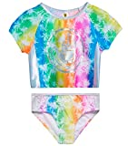 Body Glove Girls' Rash Guard - 2-Piece UPF 50+ Swim Shirt and Bikini Bottom Swimsuit Set (Little Girl/Big Girl), Size 8, Tie Dye Palm Trees