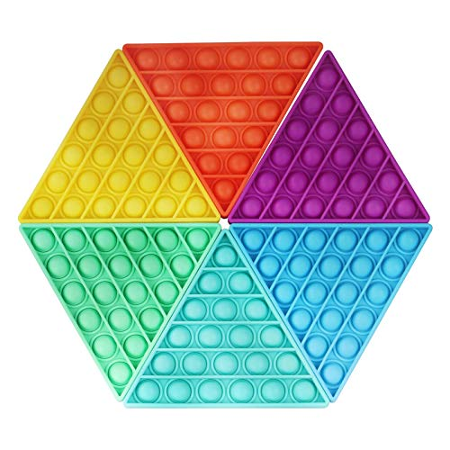 Fidget Toys Push pop Bubble, Triangle pop Fidget Toys, Squeeze Sensory Toys, Silicone Stress Release Toys, Triangle Stress Anxiety Relief Reliever Toys for Autism, Kids, Adult to Release Stress (6PCS)