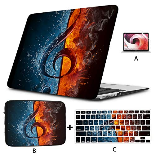 Laptop Cover Cool Treble Clef Music Note In Fire And Water Macbook Pro Shell Hard Shell Mac Air 11'/13' Pro 13'/15'/16' With Notebook Sleeve Bag For Macbook 2008-2020 Version