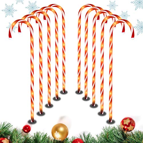 28' Christmas Candy Cane Pathway Markers Lights, Set of 10 Pack Christmas Outdoor Decorations Yard Candy Cane Lights