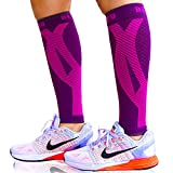 BLITZU Calf Compression Sleeves For Women & Men Leg Compression Socks for Runners, Shin Splint, Recovery from Injury & Pain Relief Great for Running, Maternity, Travel, Nurses Purple S-M