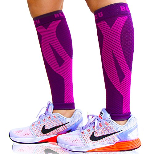 BLITZU Calf Compression Sleeves For Women & Men Leg Compression Socks for Runners, Shin Splint, Recovery from Injury & Pain Relief Great for Running, Maternity, Travel, Nurses Purple L-XL