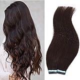 Echthaar Extensions Tape 2,5g 40 Stücke Glatt Weich Haarverlängerung Natürlich Haarteile Keine Clips 100 Gramm 60cm 02# Dunkelbraun