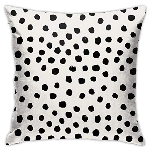 QUEMIN Funda de cojín decorativa para sofá de 45,7 x 45,7 cm, diseño de lunares, color blanco y negro