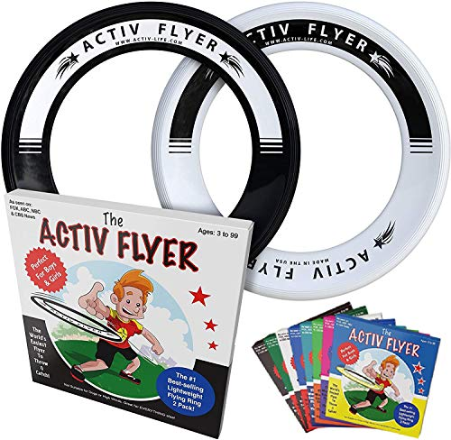 Activ Life Kid's Flying Rings [Black/White] 2 Pack - Best Water Toys for Summer Beach Games Gear Items and Swimming Pool - Sand Lawn Fun Outdoor Stuff - Outside Family Essentials