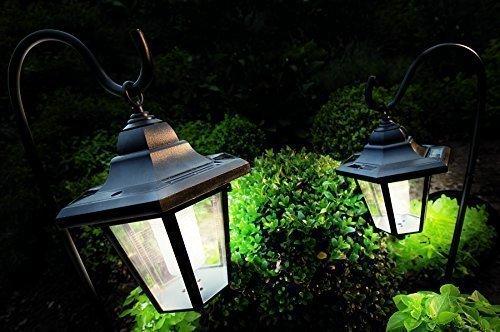Solar Garten Leuchten hängend Terrasse Balkon Beleuchtung im 2er Set XL Solarleuchten LED Solar Laterne Garten Metall mit Haken Garten Laternen mit LED