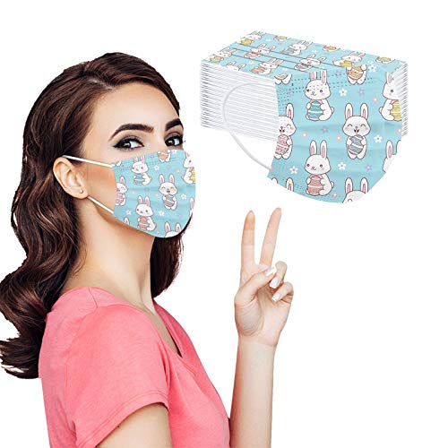 Easter Day Disposable Face_Mask with Designs for Women, Cute Bunny Printed Paper_mask for Coronavịrus Protection with Nose Wire, 3 Layer Thick Non-Woven Breathable for Daily Use and Holiday (50pc, L)