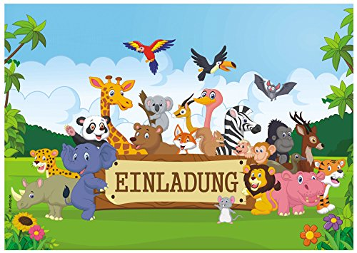 ArtUp.de 12 Einladungskarten zum Kindergeburtstag mit fröhlichen Tieren im Urwald - lustige Dschungel Safari - Geburtstagseinladungen Einladungen Geburtstag Kinder Jungen Mädchen Einladungstext Set