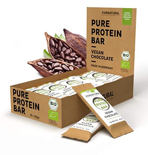 NEU 3K Protein-Riegel Vegan BIO Schoko [aus Deutschland] Bio Eiweißriegel ohne Soja, zugesetzten Zucker oder Whey mit gekeimten Samen - Rein pflanzliche Premium Protein Bars mit Bio Kakao (10 x 45g)